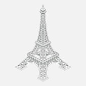 a realistic image of the Eiffel Tower, a sightseeing paris, a symbol of France, a trip for lovers, one of the wonders of the world
