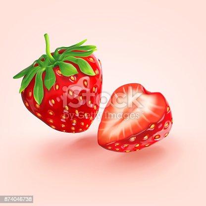 istock a red strawberry split in half 874046738