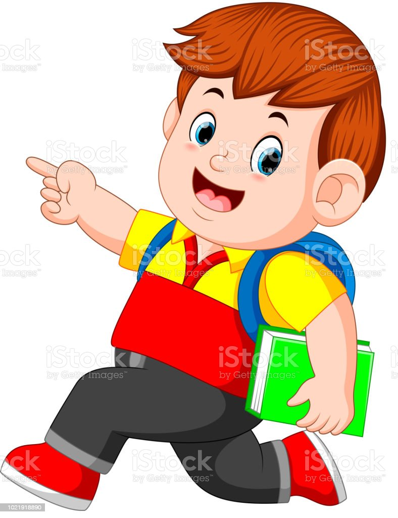 a schoolboy with backpacks and books walking vector art illustration