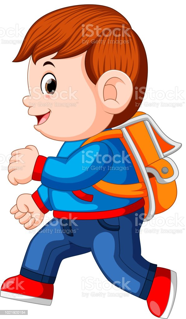 a schoolboy with backpacks walking vector art illustration