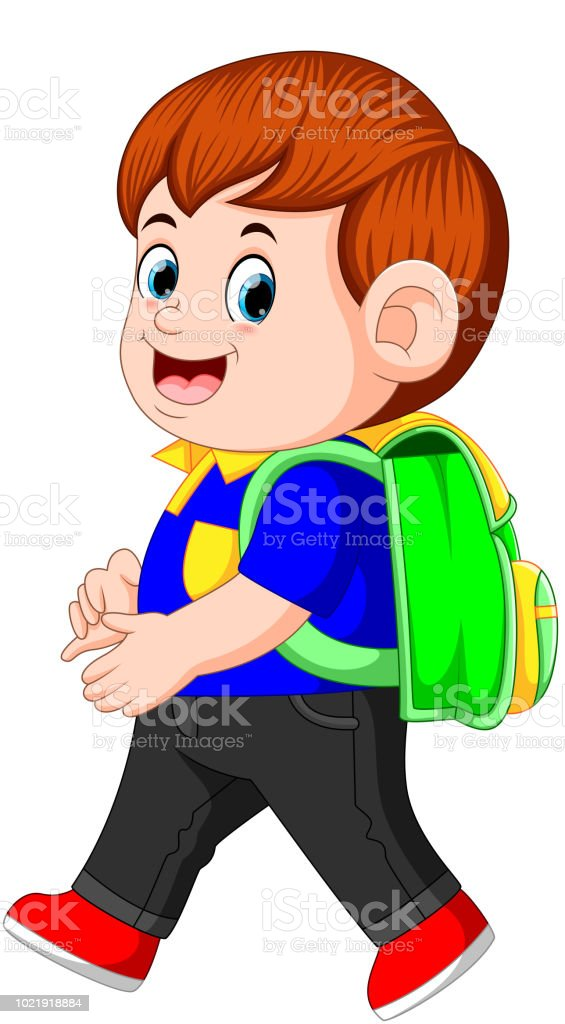 a schoolboy with backpacks walking with smile vector art illustration