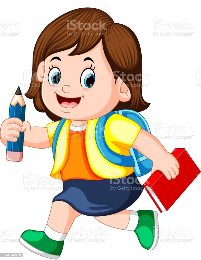 a schoolgirl holding pencil with backpacks and books walking vector art illustration
