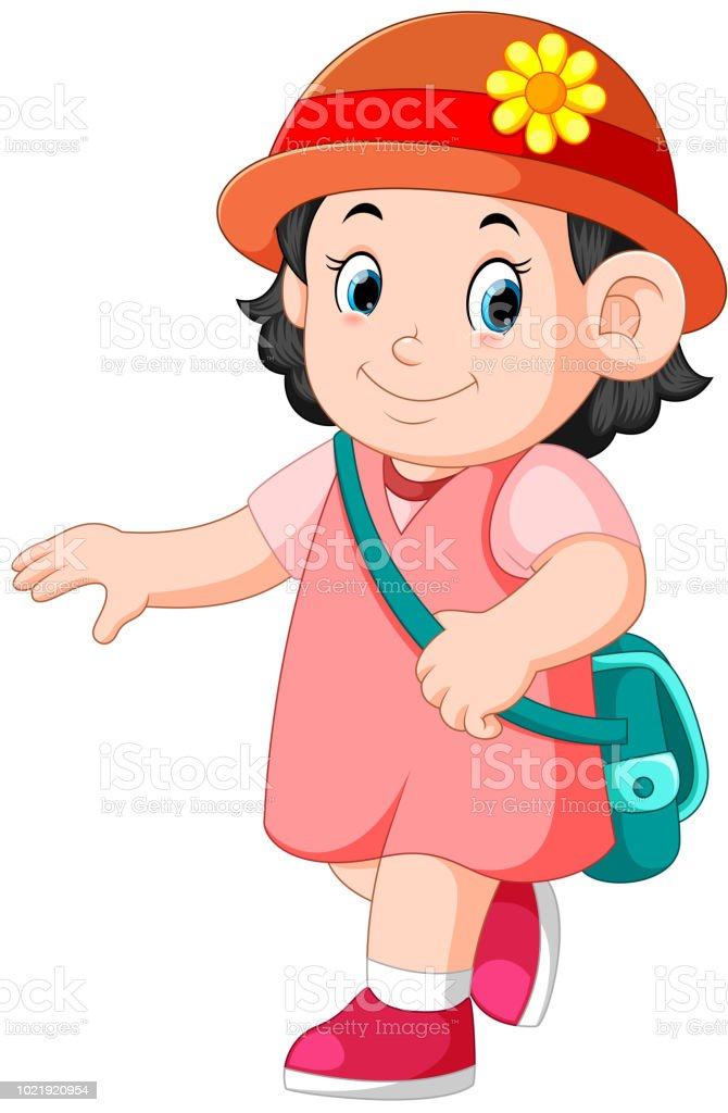 a schoolgirl walking with smile vector art illustration