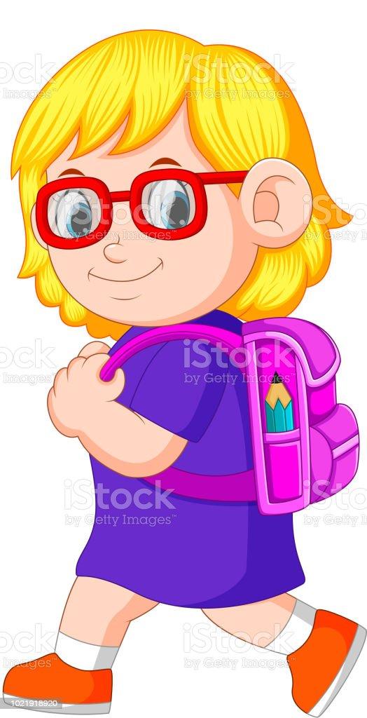 a schoolgirl with backpacks walking vector art illustration