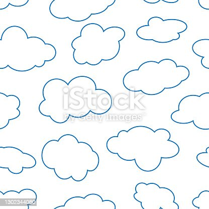 istock a seamless pattern with doodle clouds, vector 1302344080
