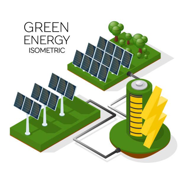 ilustrações de stock, clip art, desenhos animados e ícones de a set of alternative energy sources. solar panels transmit energy to the battery. isometric 3d - solar panel