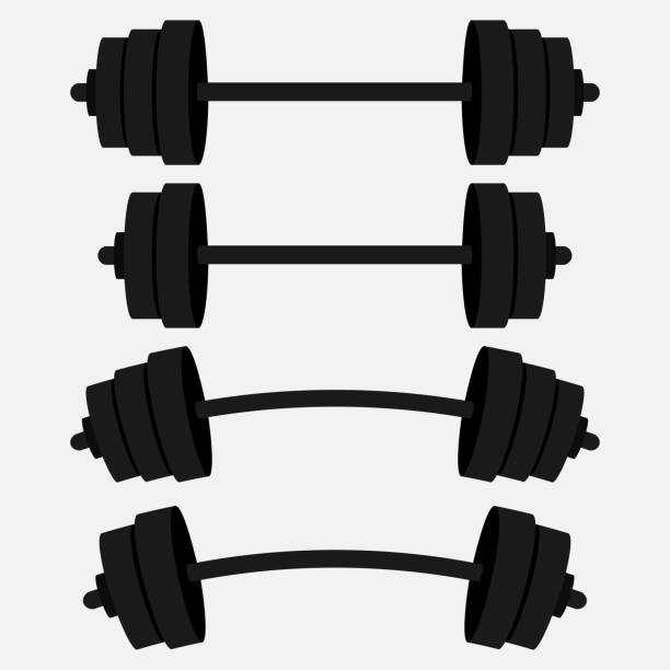a set of bars, a gym, fitness club, athletic style vector art illustration