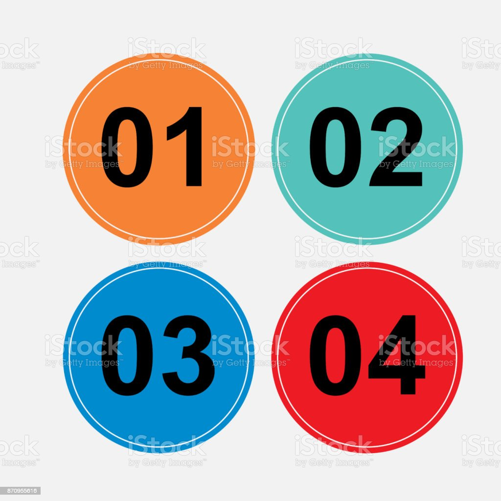 a set of circular buttons vector art illustration