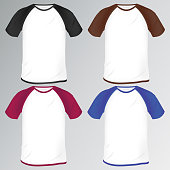 a set of colored men's t-shirts with Raglan. mocap for clothing design