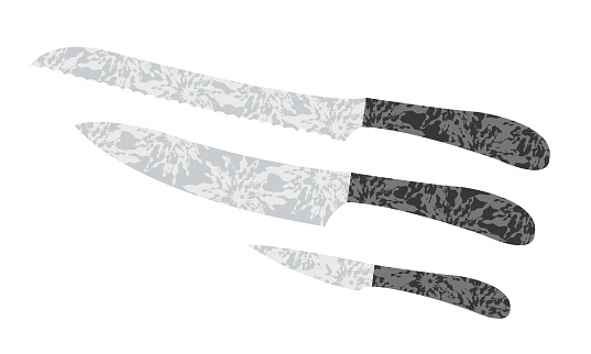 a set of kitchen knives of different sizes and purposes with patterns in the style of op art