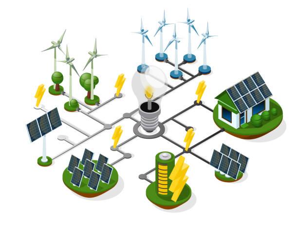 ilustrações de stock, clip art, desenhos animados e ícones de a set of sources of alternative energy. green energy. isometric 3d - solar panel