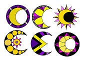 a set of sun, moon and stars, colored logo design vector