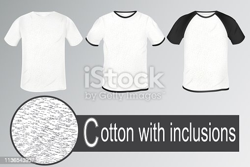 a set of t-shirts made of white fabric with gray patches. dedicated collar and sleeves. black Raglan