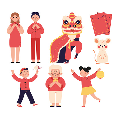 a set of vector characters and Chinese New Year illustrations