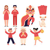 women, male children, and grandmothers celebrating Chinese New Year. the characters of lion dance, lanterns as Chinese New Year