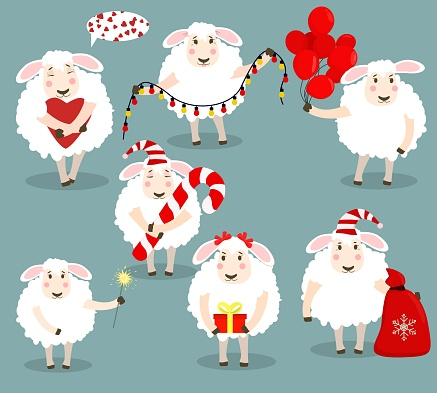 a set of vector illustrations with sheep on the theme of happy birthday, New year and Christmas. Children's Party