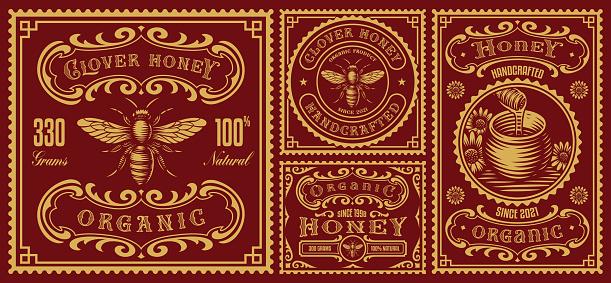 a set of vintage honey labels