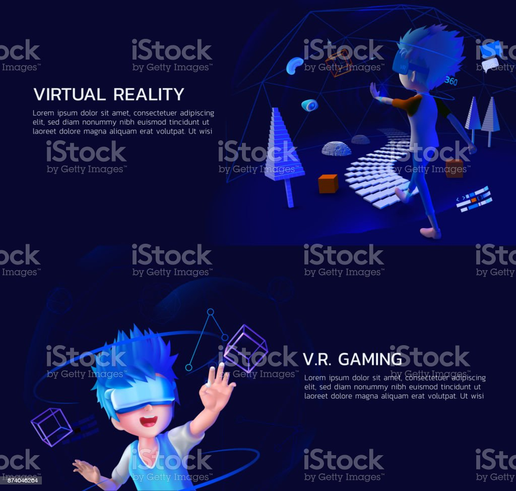 a set of virtual reality vr gaming 3d style vector art illustration