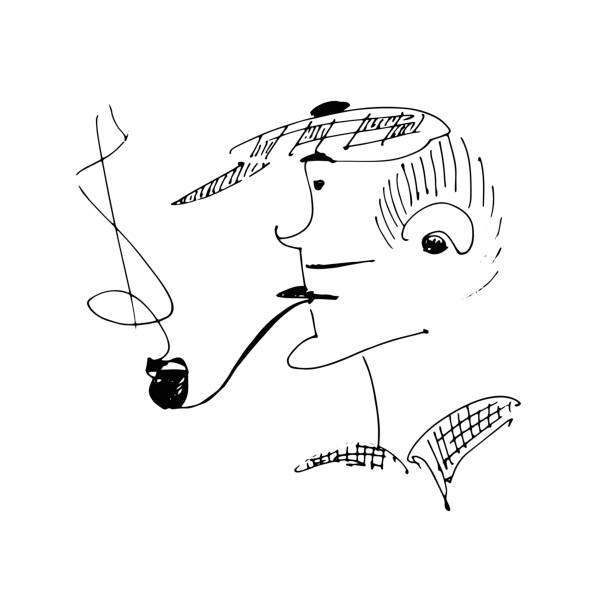 a sketch of a man in a cap and with a pipe. - old man smoking pipe drawing stock illustrations, clip art, cartoons, & icons