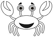 a smiling crab in black and white for colouring