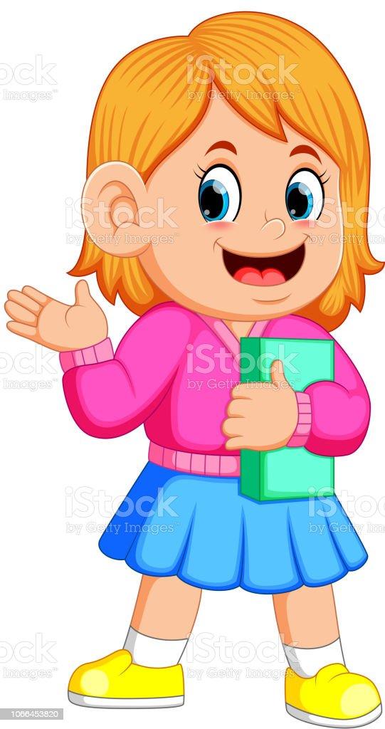 本を保持している笑顔のかわいい女の子 1人のベクターアート