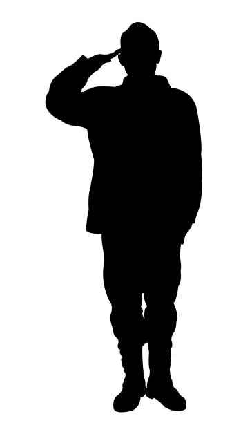 a soldier man silhouette vector a soldier man silhouette vector saluting stock illustrations