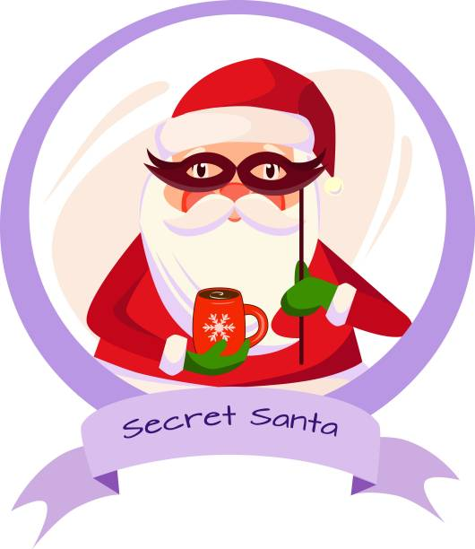 a sticker of secret santa with a cup of coffee - secret santa messages stock illustrations