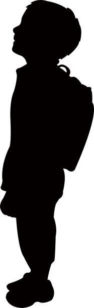 a student boy silhouette vector vector art illustration