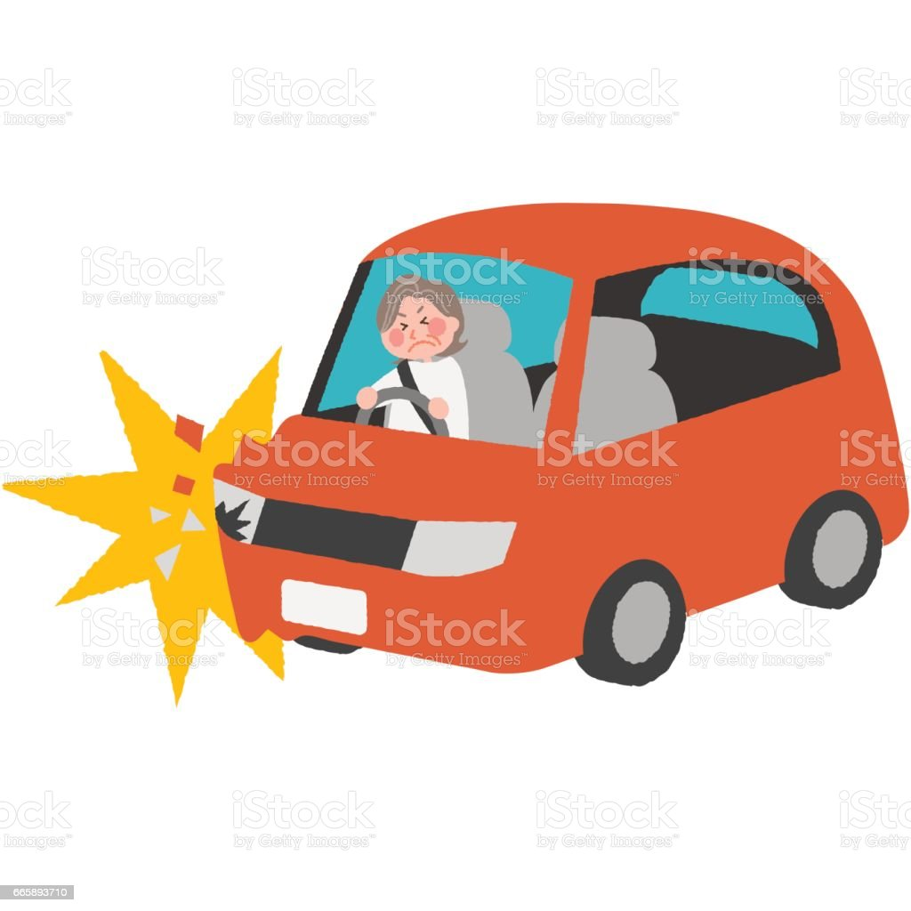 高齢者ドライバーの交通事故 ベクターアートイラスト