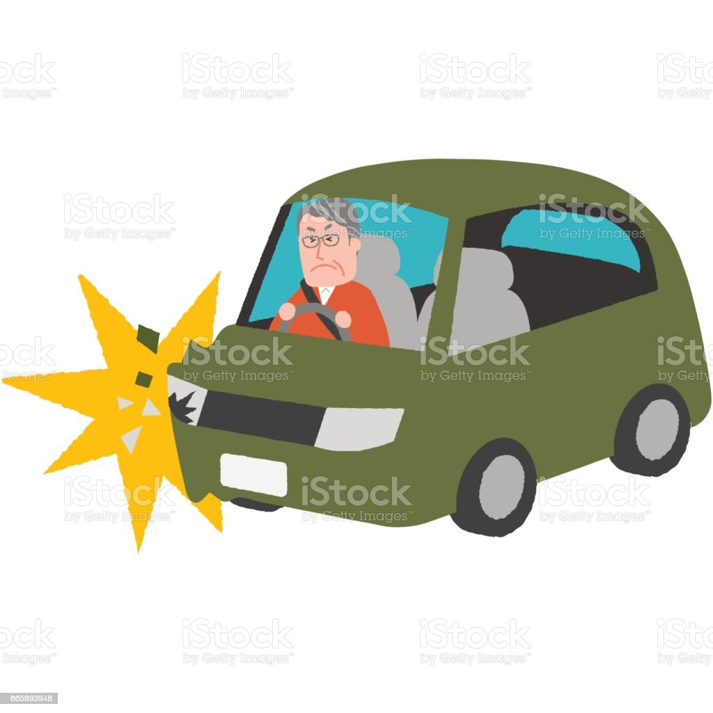 a traffic accident of the elderly driver vector art illustration