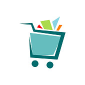 a trolley shopping cart logo icon design shop symbol vector illustrations