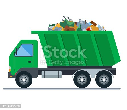 a truck loaded with garbage goes to a landfill. flat vector illustration
