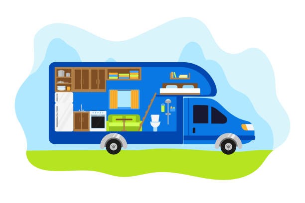 a van for life on a journey. the interior of motor home from the inside. a van for life on a journey. the interior of motor home from the inside. vector illustration in flat style. camping trailer on the road against the mountains. kitchen, bathroom and room in mini van rv interior stock illustrations