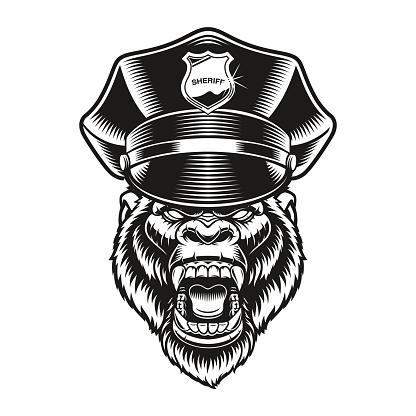 a vector illustration of a gorilla policeman