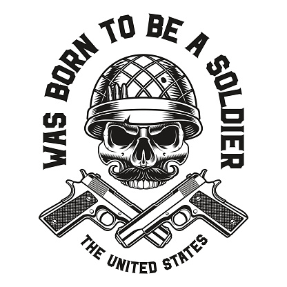 a vector illustration of a skull with guns