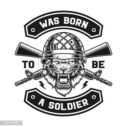 a vector illustration of a tiger soldier
