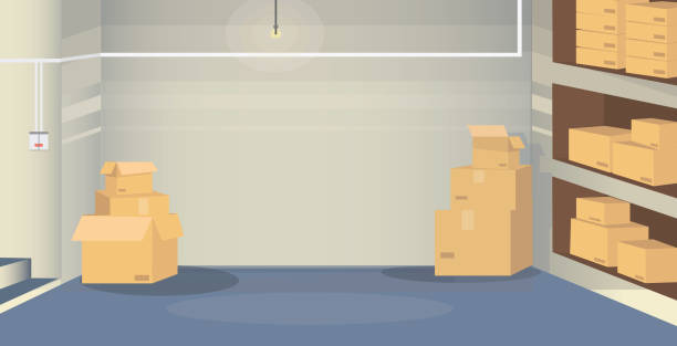 a warehouse room with boxes - basement stock illustrations