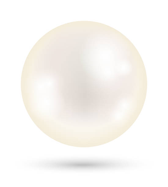 a white bright pearl on a white background - pearl jewelry stock illustrations, clip art, cartoons, & icons