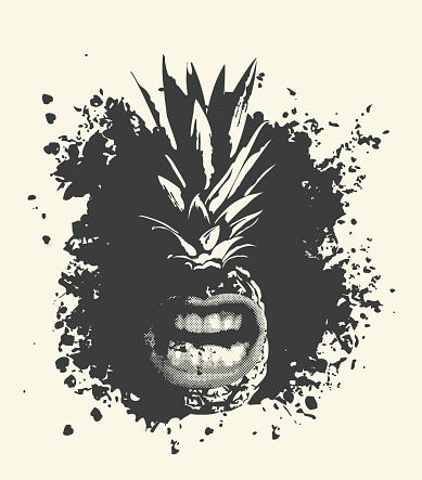 a whole pineapple character with a grinning mouth