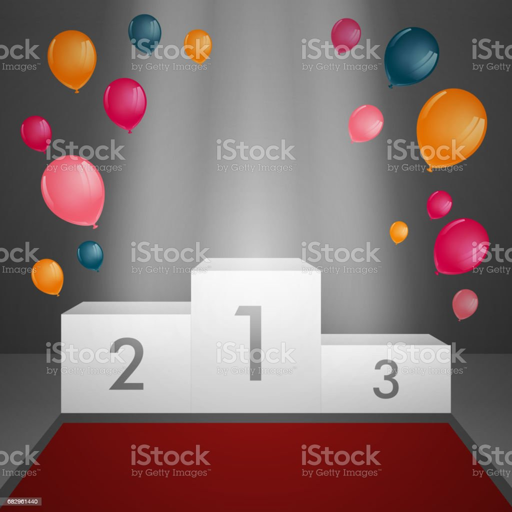 a Winners Podium with Spotlight and Balloons. vector art illustration