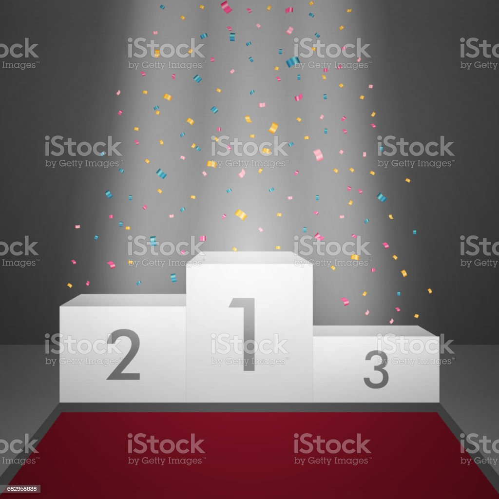a Winners Podium with Spotlight and Confetti. vector art illustration