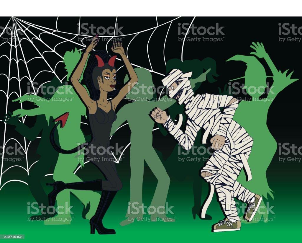Halloween In Frankrijk.Een Vrouw Als Een Duivel En Een Man Als Een Mummie Dansen Op