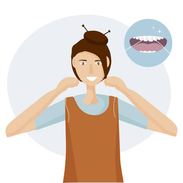 illustrazioni stock, clip art, cartoni animati e icone di tendenza di a woman flossing her teeth. example of care - open mouth with tongue and healthy clean teeth. mouth hygiene every day.  vector illustration flat design - smile woman open mouth