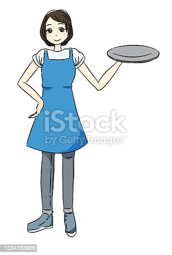 istock a woman working part-time at a restaurant 1254153959