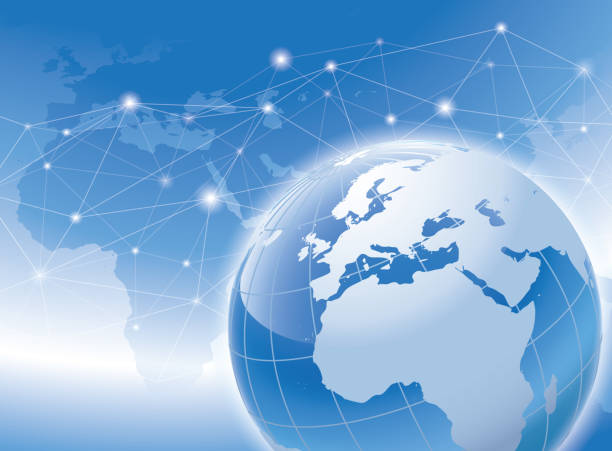 a world connectivity concept with a shiny globe in blue color vector art illustration