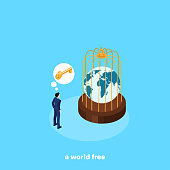 a man in a business suit next to the cage in which the globe is located, isometric image