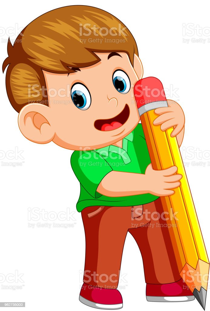 A young boy holding big pencil illustration