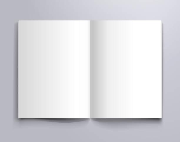 a4 makieta otwartej strony - broszura stock illustrations