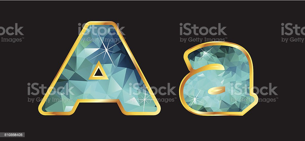 Aa with Gold and Teal vector art illustration