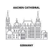 Aachen Cathedral, Germany line icon concept. Aachen Cathedral, Germany linear vector sign, symbol, illustration.